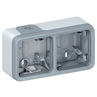Surface mounting box Plexo IP 55 2 gang horiz with membrane glands grey