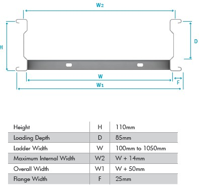Unitrunk | SW4-SL3-150-GY | Ladder Rack Straight Cable Steel ...