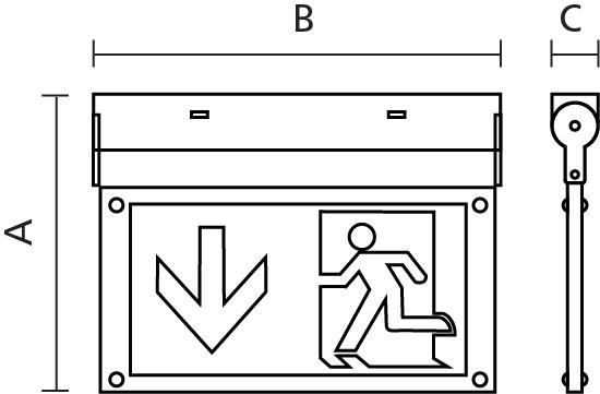 Fontburn Emergency  Exit Sign  Self-Test 3W 6000K White